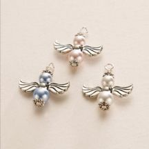 Pearl Guardian Angel Charm